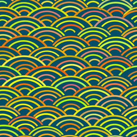 Seigaiha literally means wave of the sea. seamless pattern abstract scales simple Nature background japanese circle blue pink red yellow green. Can be used for Gift wrap, fabrics, wallpapers. Vector illustration