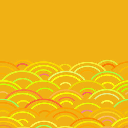 Seigaiha or seigainami literally means wave of the sea. card banner design for text abstract scales simple Nature background with japanese circle pattern red yellow orange green. Vector illustration