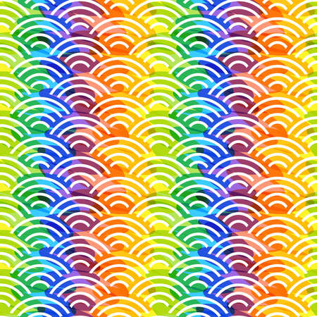 Seigaiha or seigainami literally means blue wave of the sea. rainbow seamless pattern abstract scales simple Nature background japanese circle purple pink yellow blue green bright colors. Vector illustration