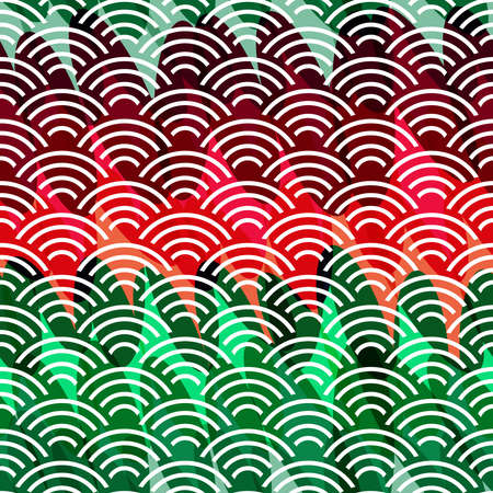 Seigaiha literally means wave of the sea. seamless pattern abstract scales simple Nature background japanese circle green red burgundy white. Can be used for Gift wrap, fabrics, wallpapers. Vector illustration