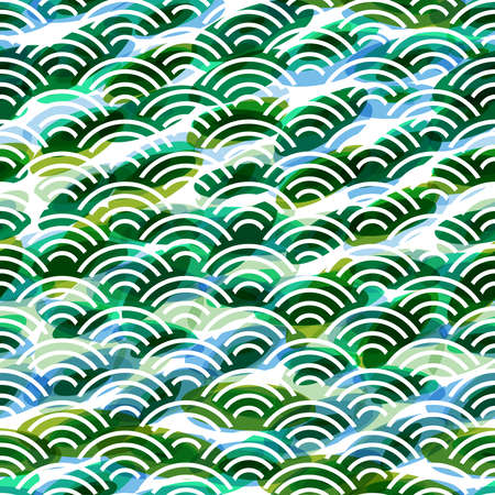 Seigaiha literally means wave of the sea. seamless pattern abstract scales simple Nature background japanese circle green blue white. Can be used for Gift wrap, fabrics, wallpapers. Vector illustration Çizim