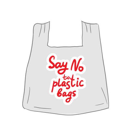Dites non aux sacs en plastique. Texte rouge, calligraphie, lettrage, griffonnage à la main isolé sur blanc. Applicable pour les bannières, affiches. Écologie, pollution de la nature. Illustration vectorielle