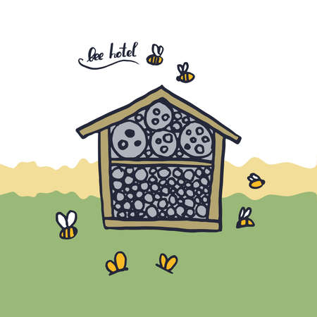 Bee hotel insect butterfly bug house, wooden object produced to mimic the solitary bees natural breeding nests. Doodle by hand black green brown white background. Applicable for Banners Poster. Vector illustration
