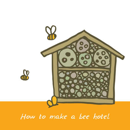 Bee hotel insect butterfly bug house, wooden object produced to mimic the solitary bees natural breeding nests. Doodle by hand Orange green brown white. Applicable for Banners Poster. Vector illustration