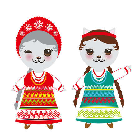 Slavic girl in green red sundress and white shirt with embroidery, hair braided two braids Kawaii cat in national costume. Cartoon children in traditional dress isolated on white background. Vector illustration Иллюстрация