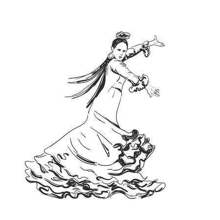 Woman in long dress with frill stay in dancing pose. flamenco dancer, spanish. beautiful female black freehand sketch silhouette Isolated on white background. Vector illustration 矢量图像