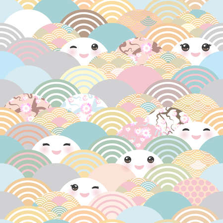 seamless pattern Kawaii with pink cheeks and winking eyes simple Nature background with japanese sakura flower, rosy pink Cherry, wave circle pattern blue pink orange pastel colors. Vector illustration