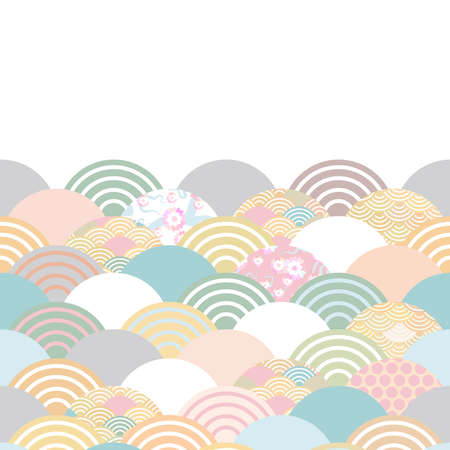spring and summer wave blue grey white green pink brown colors card banner design for text abstract scales simple Nature background with japanese circle pattern space for text. Vector illustration Çizim