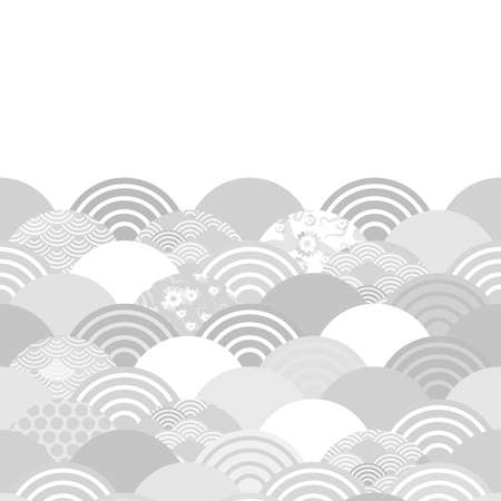 Seigaiha wave grey white colors abstract scales simple Nature background with japanese circle pattern space for text. Can be used for greeting card design, frame for your text. Vector illustration