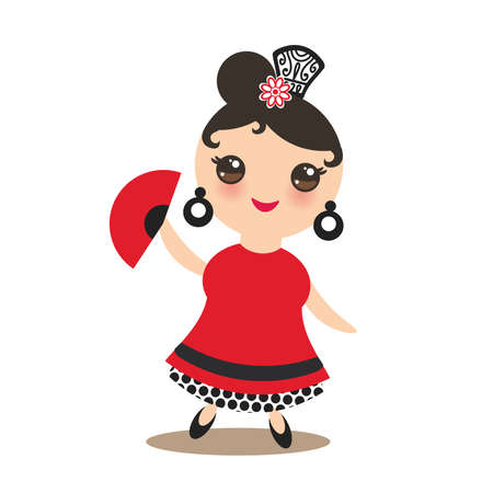 spanish Woman flamenco dancer. Kawaii cute face with pink cheeks and big eyes. Gipsy girl, red black white dress, polka dot fabric, fan, Isolated on white background greeting card design. Vector illustration