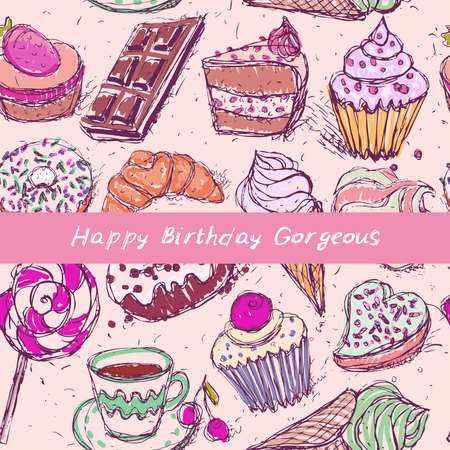 Happy birthday Gorgeous card, note. Hand drawn confectionery seamless pattern croissant Cupcake candy marshmallow ice cream cake donut and coffee, lilac beige mint on pink background. Vector illustration 矢量图像