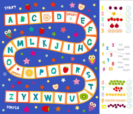 Funny cartoon English alphabet game Playmats for Preschool Children, Owls, stars, kiwi orange strawberry apple. Red squares on white blue background. numbers 1 to 10. Kids words learning game. Vector