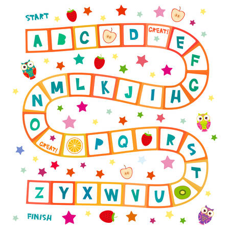 Funny cartoon English alphabet game Playmats banner card poster for Preschool Children, Owls, stars, kiwi orange strawberry apple. Red squares isolated on white background. Vector illustration