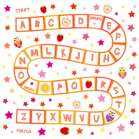 Funny cartoon English alphabet game Playmats banner card poster for Preschool Children, Owls, stars, kiwi orange strawberry apple. Red pink squares isolated on white background. Vector illustration