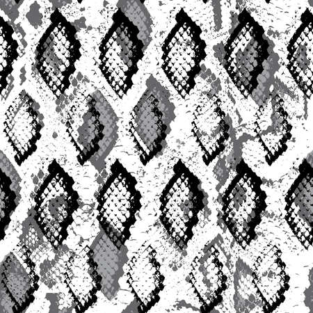 Snake skin scales texture. Seamless pattern Gray black isolated on white background. simple ornament, fashion print and trend of the season Can be used for Gift wrap, fabrics, wallpapers. Vector illustration