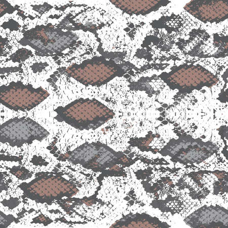 Snake skin scales texture. Seamless pattern gray beige camouflage isolated on white background. simple ornament, fashion print trend of the season Can be used for Gift wrap fabrics, wallpapers. Vector illustration Vektorgrafik