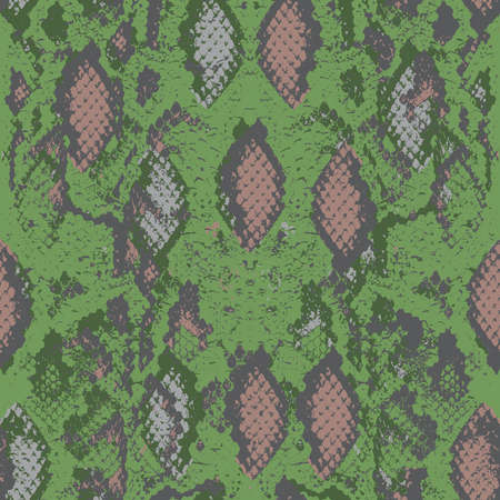 Snake skin scales texture. Seamless pattern gray beige camouflage on green background. simple ornament, fashion print trend of the season Can be used for Gift wrap fabrics, wallpapers. Vector illustration