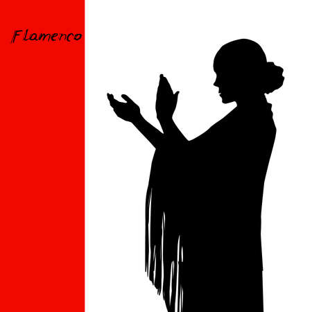 Woman in long dress stay in dancing pose. flamenco dancer, spanish. beautiful female profile black silhouette Isolated on white red background. Vector illustration