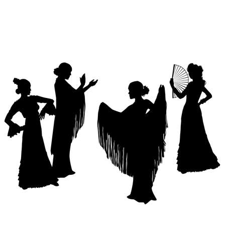 Woman in long dress stay in dancing pose. flamenco dancer, spanish. beautiful female profile black silhouette Isolated on white background. Vector illustration Vectores