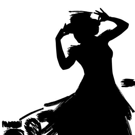 Woman in long dress stay in dancing pose. flamenco dancer, spanish. beautiful female profile black silhouette Isolated on white background. Vector illustration 矢量图像