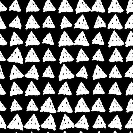 Classic vintage seamless pattern with triangles, texture grunge crayons ink. black White background. Can be used for scandinavian style greeting card design, Gift wrap, fabrics, wallpapers. Vector illustration  イラスト・ベクター素材