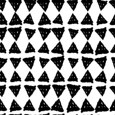 Classic vintage seamless pattern with triangles, texture grunge crayons ink. black isolated on White background. Can be used for greeting card design, Gift wrap, fabrics, wallpapers. Vector illustration