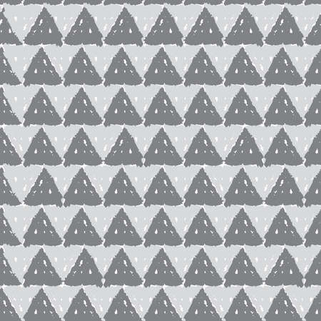 Classic vintage seamless pattern with triangles, texture grunge crayons ink. gray White background scandinavian style. Can be used for greeting card design, Gift wrap, fabrics, wallpapers. Vector illustration  イラスト・ベクター素材
