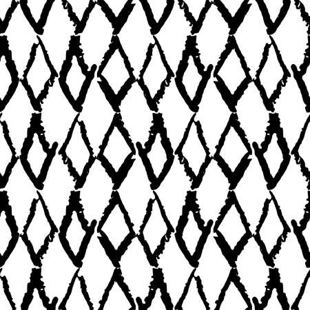 Classic vintage seamless pattern with rhombuses, texture grunge crayons ink. black isolated on White background. Can be used for greeting card design, Gift wrap, fabrics, wallpapers. Vector illustration