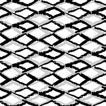 Classic vintage seamless pattern with rhombuses, texture grunge crayons ink. black gray isolated on White background. Can be used for greeting card design, Gift wrap, fabrics, wallpapers. Vector illustration
