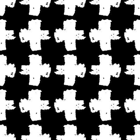 Seamless pattern black white cross lines chalk grid design, abstract simple scandinavian style background grunge texture. trend of the season. Can be used for Gift wrap fabrics, wallpapers. Vector illustration