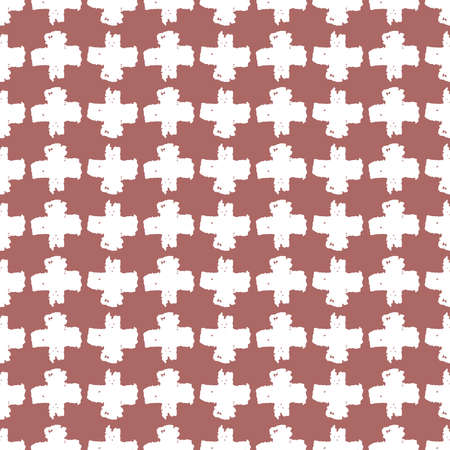Seamless pattern brown white cross lines chalk grid design, abstract simple scandinavian style background grunge texture. trend of the season. Can be used for Gift wrap fabrics, wallpapers. Vector illustration