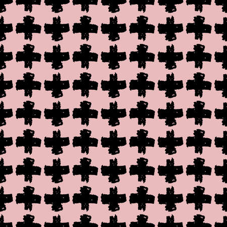 Seamless pattern black pink cross lines chalk grid design, abstract simple scandinavian style background grunge texture. trend of the season. Can be used for Gift wrap fabrics, wallpapers. Vector illustration