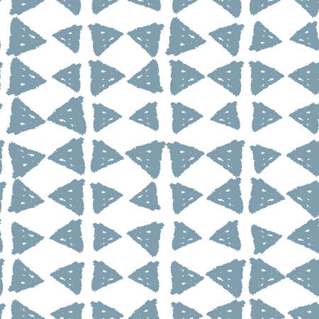 Classic vintage seamless pattern with triangles, texture grunge crayons ink. gray blue isolated on White background. Can be used for greeting card design, Gift wrap, fabrics, wallpapers. Vector illustration
