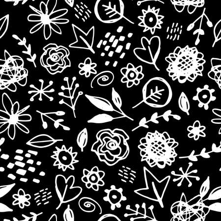 Seamless pattern flowers leaves abstract doodle hand drawn lines scandinavian style white black background. fashion print, trend of the season Can be used for Gift wrap fabrics wallpapers. Vector illustration Zdjęcie Seryjne - 150467859