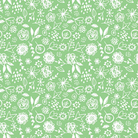 Seamless pattern flowers leaves abstract doodle hand drawn lines scandinavian style white green background. fashion print, trend of the season Can be used for Gift wrap fabrics wallpapers. Vector illustration
