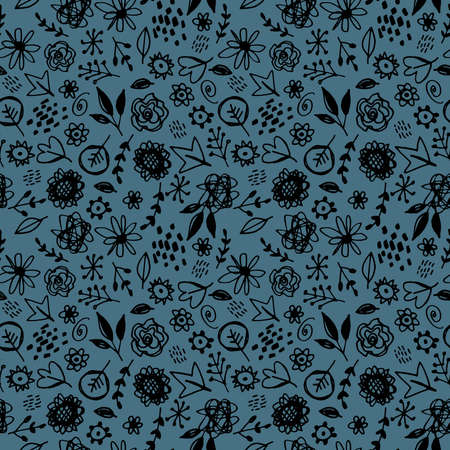 Seamless pattern flowers leaves abstract doodle hand drawn lines scandinavian style black turquoise background. fashion print, trend of the season Can be used for Gift wrap fabrics wallpapers. Vector illustration Ilustracja