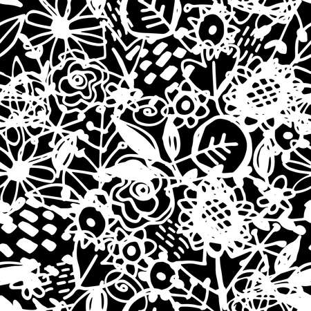 Seamless pattern flowers leaves abstract doodle hand drawn lines scandinavian style white black background. fashion print, trend of the season Can be used for Gift wrap fabrics wallpapers. Vector illustration