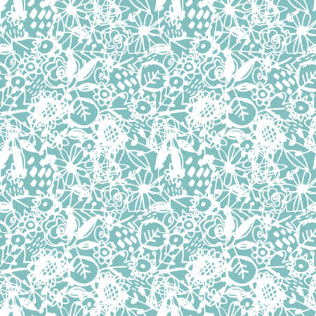 Seamless pattern flowers leaves abstract doodle hand drawn lines scandinavian style white mint blue background. fashion print, trend of the season Can be used for Gift wrap fabrics wallpapers. Vector illustration Ilustracja