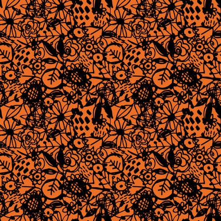 Seamless pattern flowers leaves abstract doodle hand drawn lines scandinavian style black orange background. fashion print, trend of the season Can be used for Gift wrap fabrics wallpapers. Vector illustration