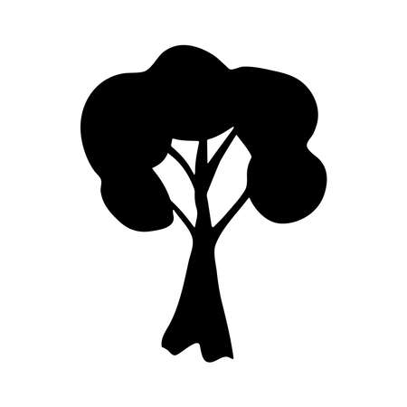 Tree black silhouette isolated on white background, grunge ink texture, hand drawn plant, branches and leaves. Natural background, card banner design for your text, copy space. Vector illustration