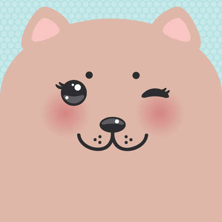 Cute Cartoon Kawaii funny brown cat muzzle with pink cheeks and wink eyes on blue polka dot background. Card banner design Nursery decor trend of the season, scandinavian style. Vector illustration