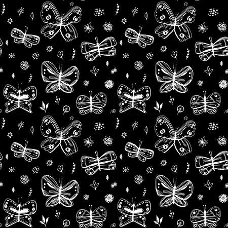 Seamless pattern butterflies leaves flowers. sketch freehand drawing doodle lines scandinavian style background grunge texture. Nursery decor trend Gift wrap, fabrics, wallpapers, black white. Vector illustration  イラスト・ベクター素材
