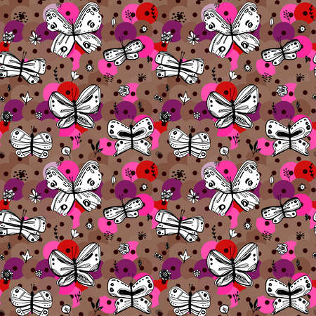Seamless pattern butterflies leaves flowers sequins. sketch drawing doodle scandinavian style background grunge. Nursery decor Gift wrap fabrics wallpapers black white pink purple brown. Vector illustration  イラスト・ベクター素材