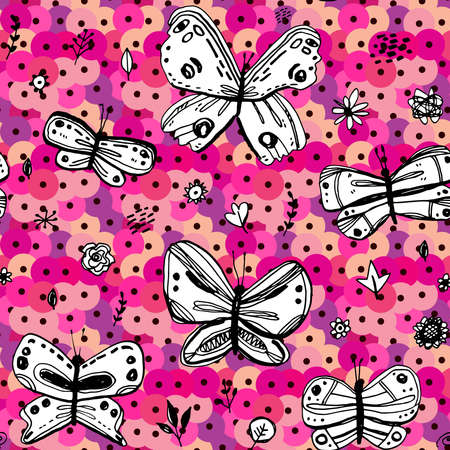 Seamless pattern butterflies leaves flowers sequins. sketch drawing doodle scandinavian style background grunge. Nursery decor Gift wrap fabrics wallpapers black white pink purple violet. Vector illustration  イラスト・ベクター素材