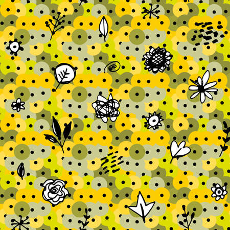 Seamless pattern abstract leaves flowers sequins. sketch drawing doodle scandinavian style background grunge texture. Nursery decor Gift wrap fabrics wallpapers black white green yellow gray. Vector illustration