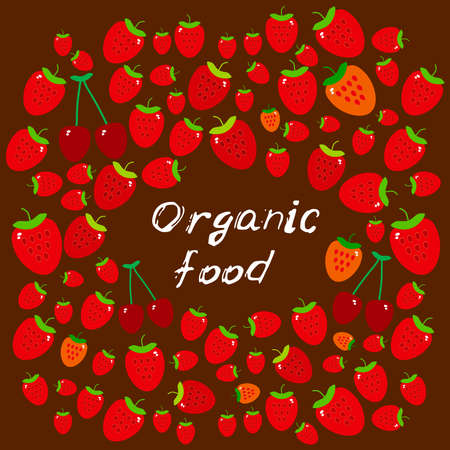 Organic food, Farmers market. Card banner template ripe red cherry and strawberry. White text, calligraphy, lettering, doodle by hand on dark burgundy background. Vector illustration