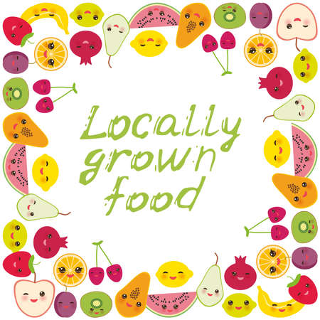 Locally grown food. Card banner design square frame Kawaii strawberry, orange, banana cherry, lime lemon kiwi, plums, apples, watermelon pomegranate, papaya, pear isolated on white background. Vector illustration