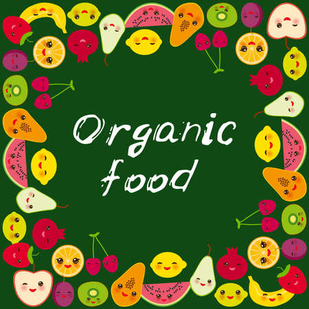 Organic food. Card banner design square frame Kawaii strawberry, orange, banana cherry, lime lemon kiwi, plums, apples, watermelon pomegranate, papaya, pear on dark green background. Vector illustration  イラスト・ベクター素材