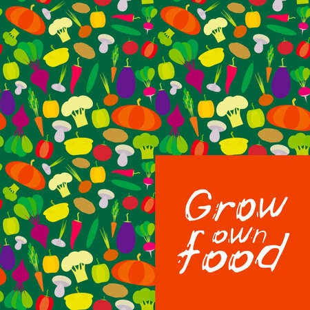 Grow own food. vegetables bell peppers, pumpkin beets carrots, eggplant, red hot peppers, cauliflower, broccoli, potatoes, mushrooms, cucumber, onion, garlic, tomato, radish green background. Vector illustration