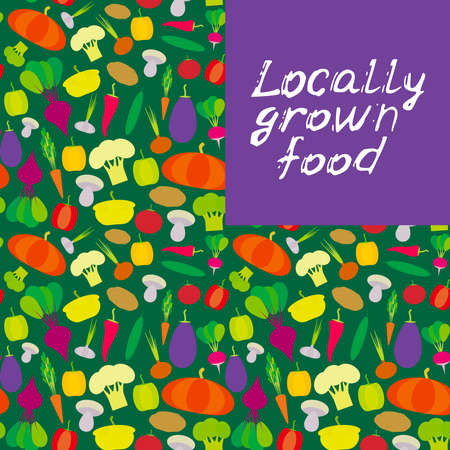 Locally grown food. vegetables bell peppers pumpkin beets carrots eggplant red hot peppers cauliflower broccoli potatoes mushrooms cucumber onion garlic, tomato radish on green background. Vector illustration